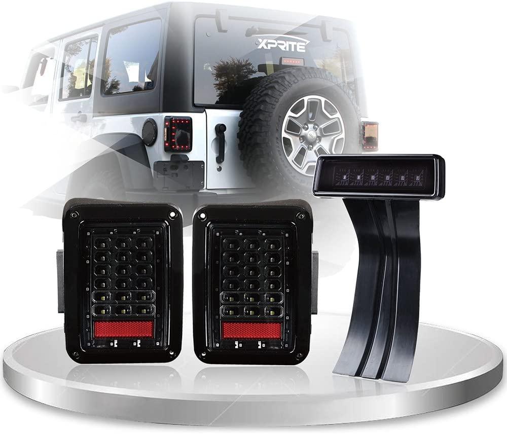 Xprite Clear Lens Red LED Tail Light w/Turn Signal & Back Up & Smoke 3rd LED Brake Light Assembly For Jeep Wrangler JK JKU 2007-2018