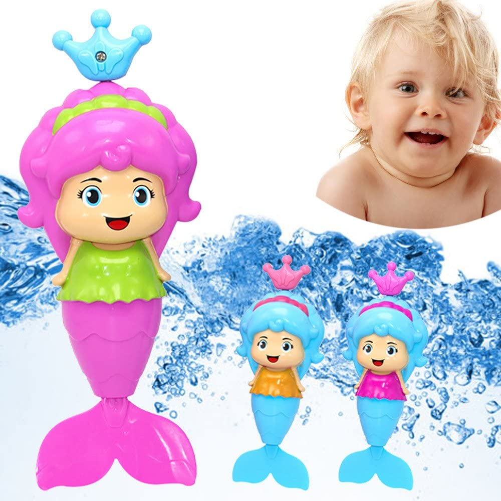 Bath Tub Fun Swimming Baby Bath Toy Mermaid Wind Up Floating Water Toy for Kids, Action & Toy Figures, Shipping from The US (As Show)