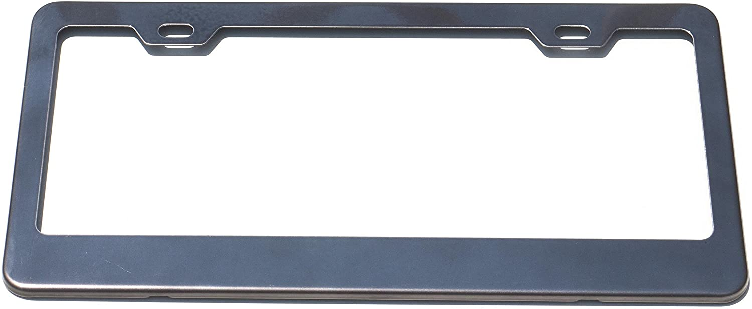 Stainless Steel License Plate Frame Holder 2 Screw Holes w Adjustable Space (Black Chrome)