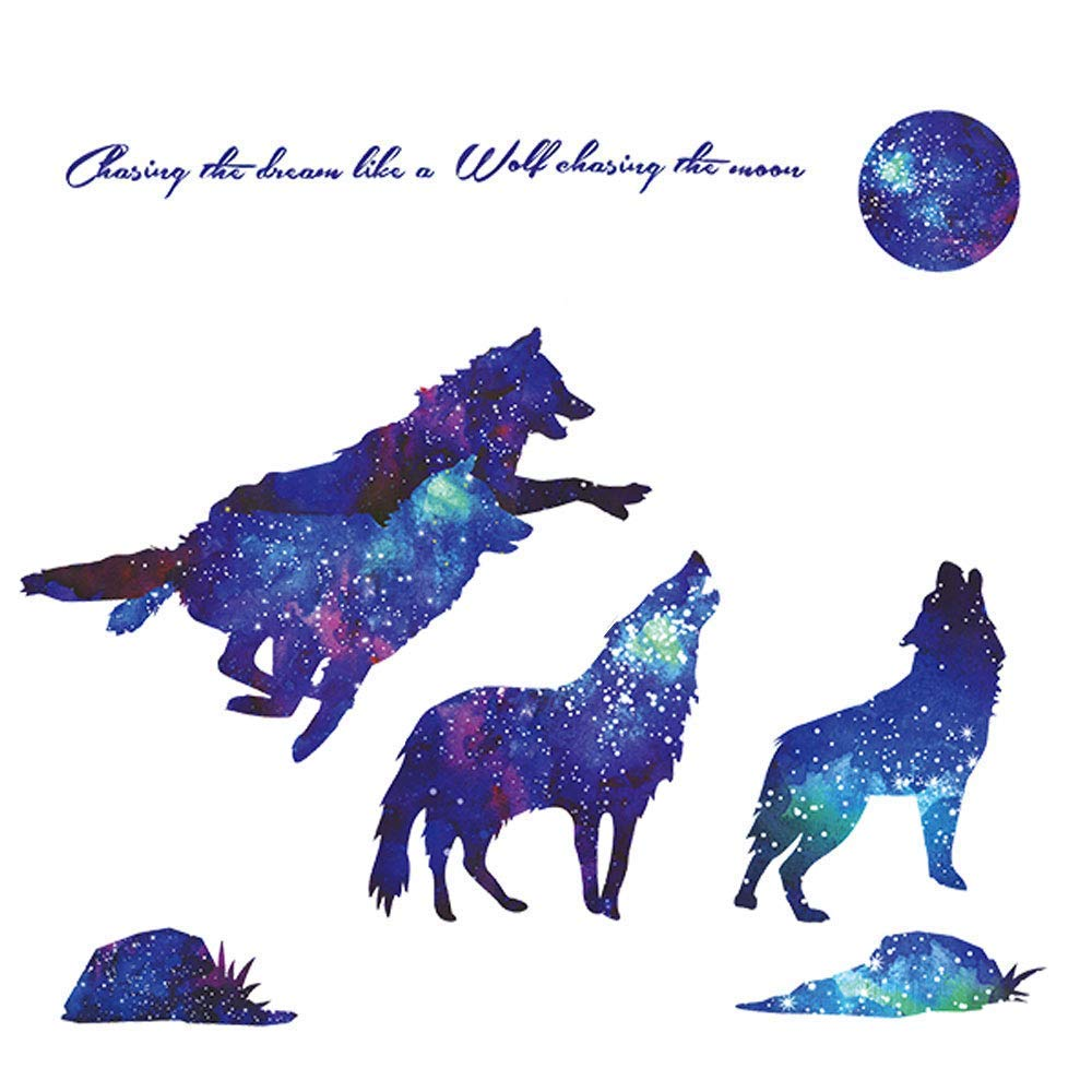 RW- Removable Creative 3D Blue Wall Decals Home Wall Art Decor Wall Stickers Murals for Kids Girls Boys Bedroom Nursery Baby Playroom Living Room Wall Decoration (Wolf)
