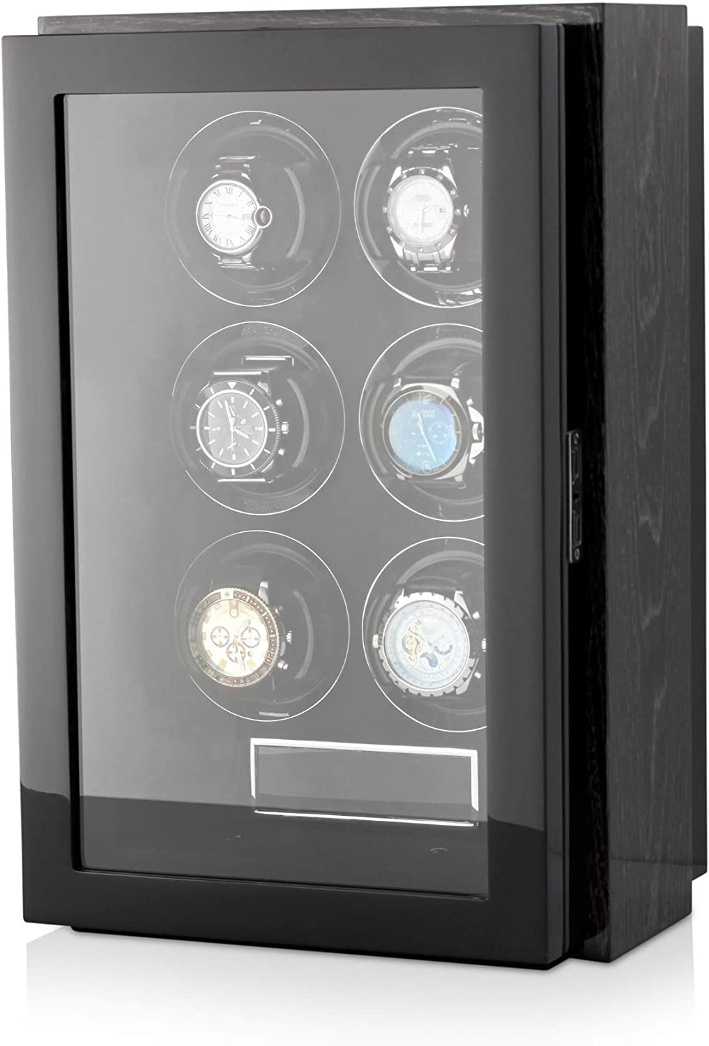 Watch Winder Box for Self-Winding 6 Automatic Watches with LED Case Backlight and LCD Display for All Watch Brands and All Watch Sizes