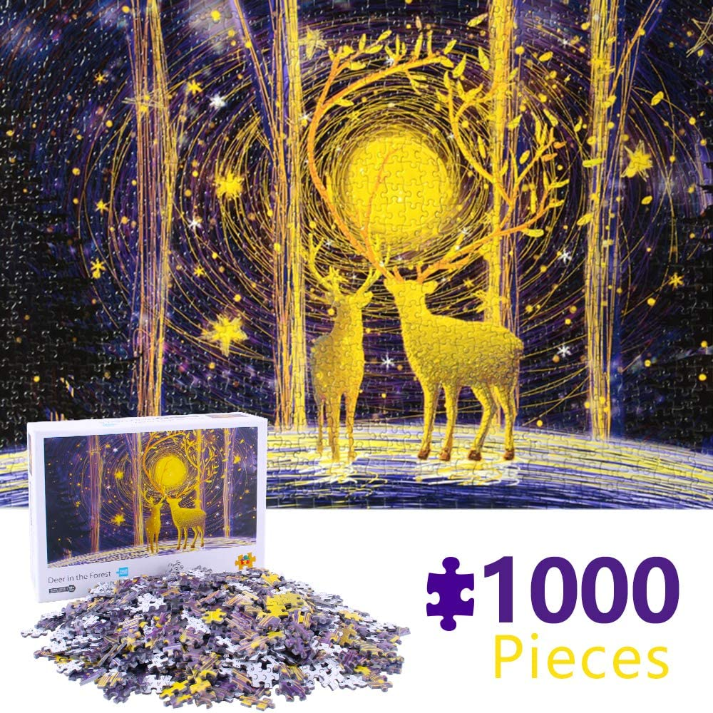 Maryya Deer Puzzles for Adults 1000 Piece Jigsaw Puzzle 1000 Pieces for Adults,1000 Piece Puzzles for Adults, Puzzle Toys Xmas Birthday Gift for Adults Kids 45CMX29.7CM -Deer in The Forest