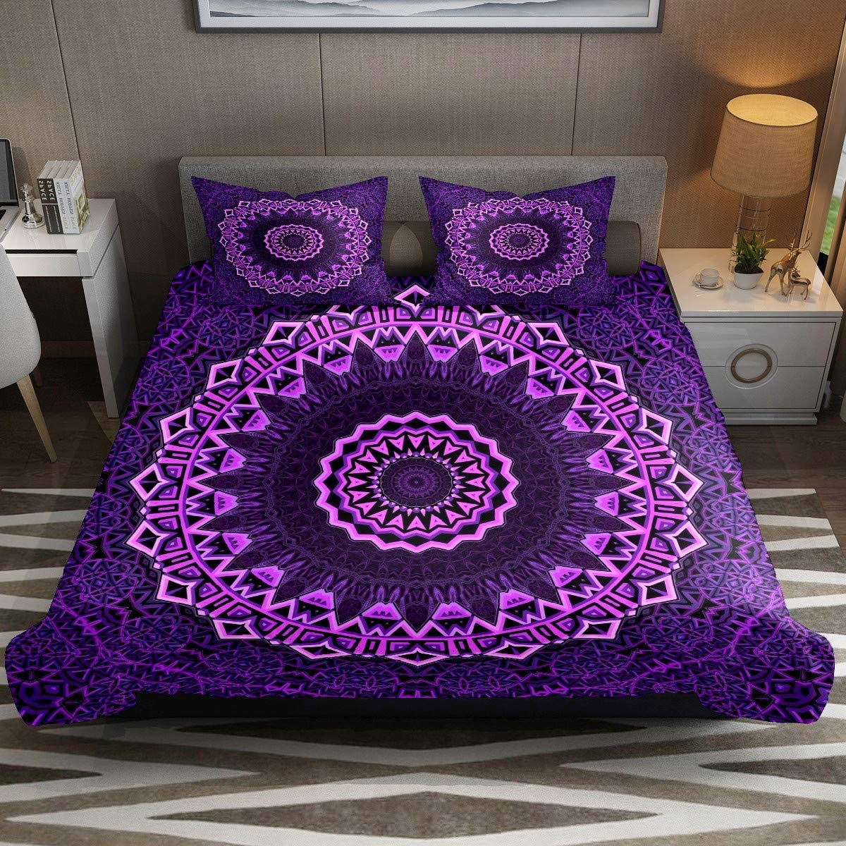 Luxury Mandala Vibrant Purple Comforter Cover Set CK Size 3pcs Duvet Cover Bedding Sets & Collections with Zipper Ties for Woman Teens Kids Modern Customize (1 Quilt Cover +2 Pillowcases)