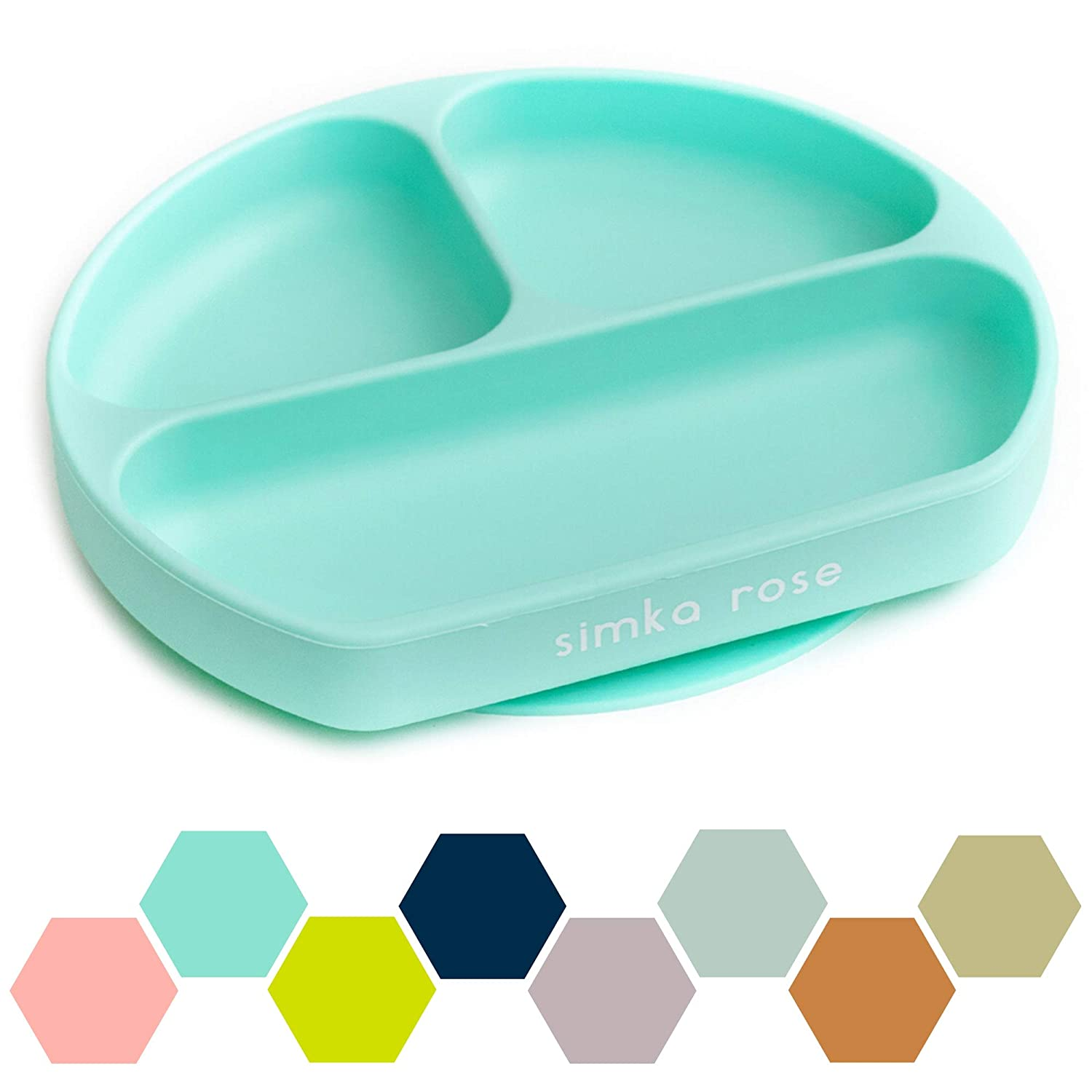 Simka Rose Suction Plate for Baby and Toddler - Divided Silicone Plate - BPA Free - Dishwasher and Microwave Safe - Cute Baby Shower Gift (Mint)