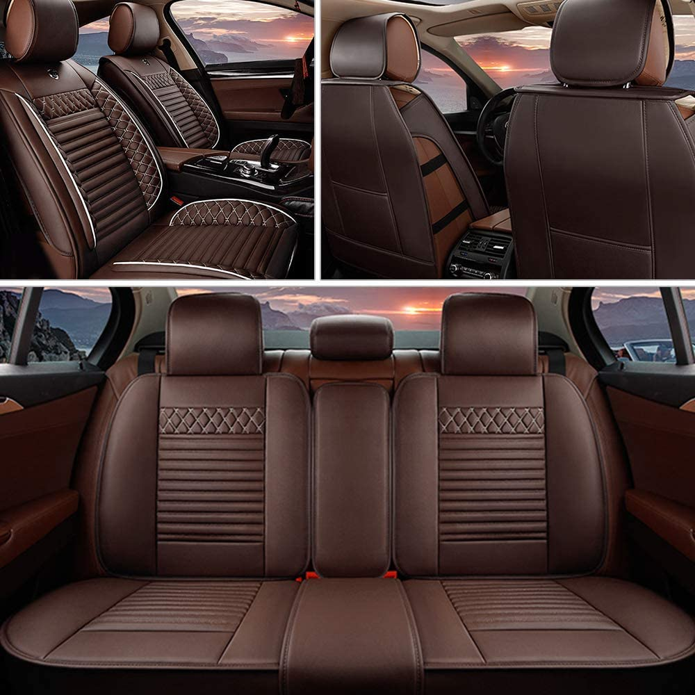 MyGone Car Seat Covers for Mitsubishi Lancer Leather Protector, Front + Rear 5 Seat Full Set - Breathable Soft Cushion Waterproof - Universal for Sedan SUV Truck Brown