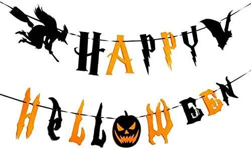MC TTL Happy Halloween Banners, Pumpkin Witch Bat Bunting Indoor Outdoor Bedroom, Fireplace, Garden Halloween Party Decorations (Black and Orange Halloween Banners)