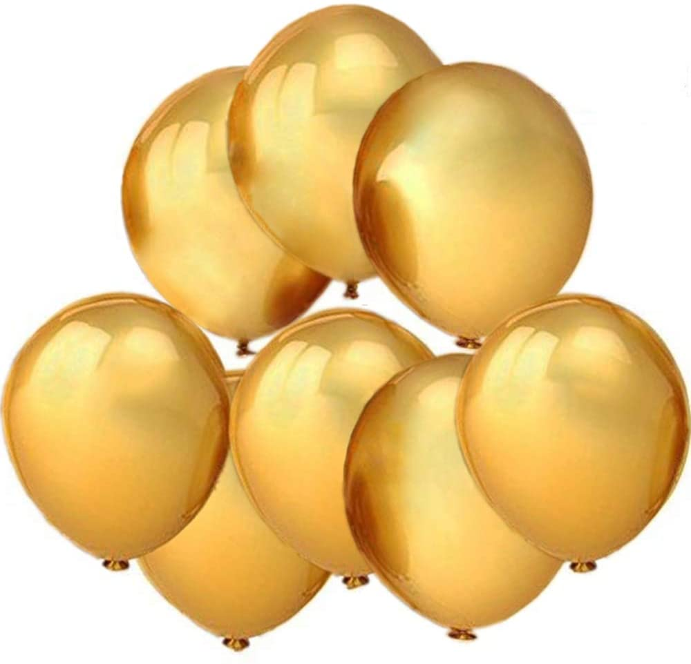 100 Pack Gold Balloons Latex 10