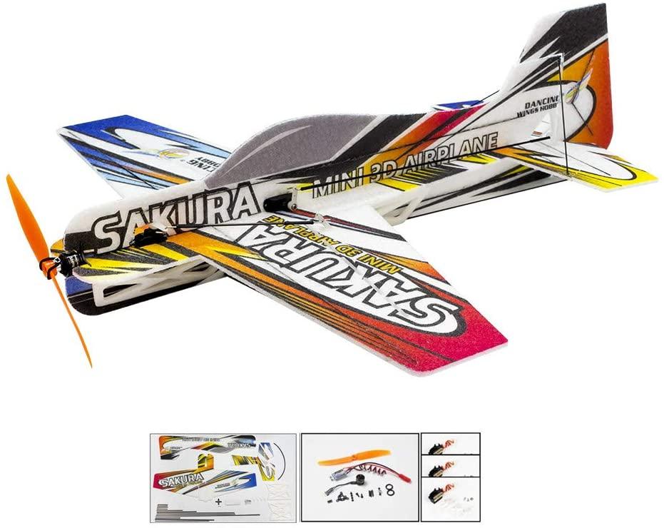 Upgrade 3D EPP Plane SAKURA Aerobatic Fly Aircraft, 420mm Durable Foam RC Plane Kit to Build, DIY Electric 4CH Radio Controlled Airplane RC Aeroplane for Adults(KIT+Motor+ESC+Servo, EPP SAKURA)