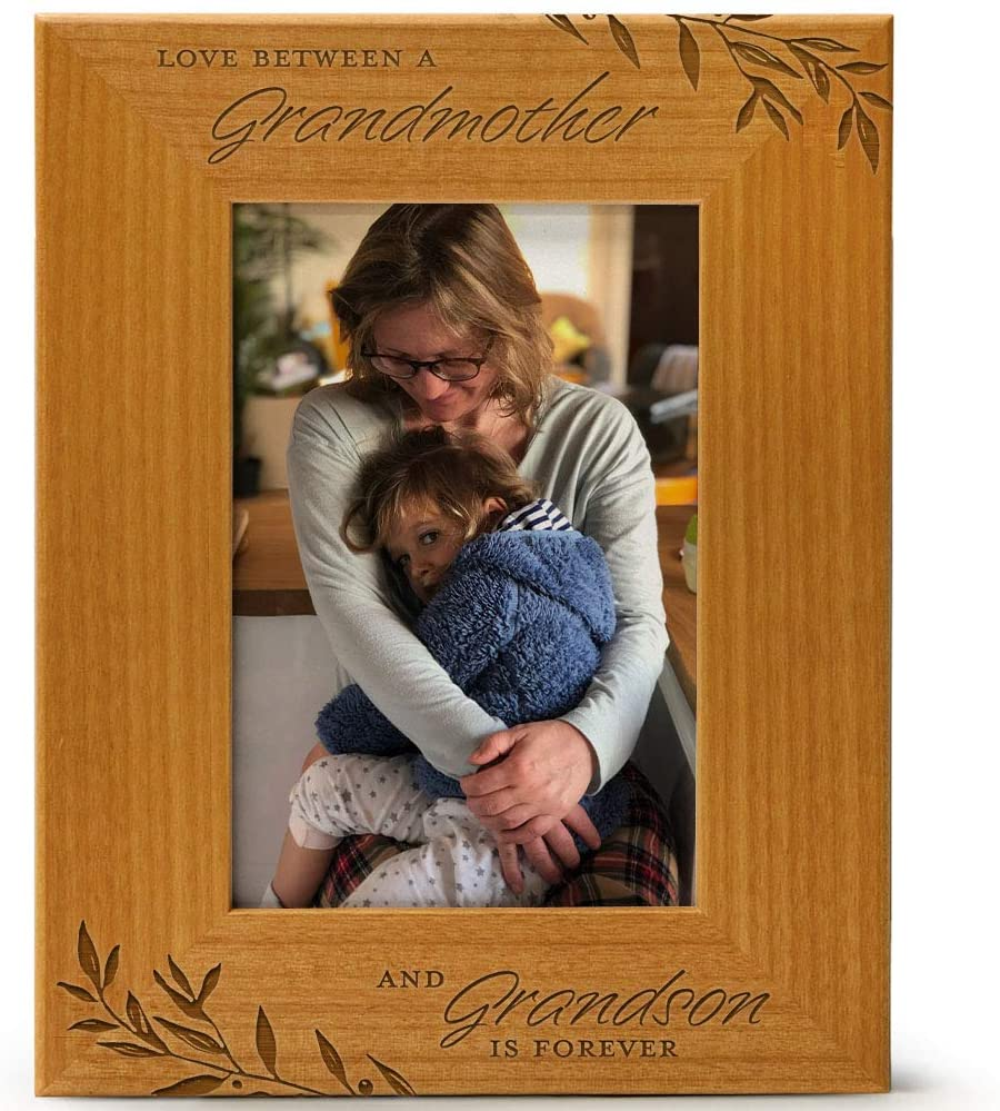 Love Between a Grandmother & Grandson is Forever, Engraved Natural Wood Photo Frame Fits 4x6 Vertical Portrait for Grandma, Grandparent's Day, Best Grandma Ever, Grandmother Gifts