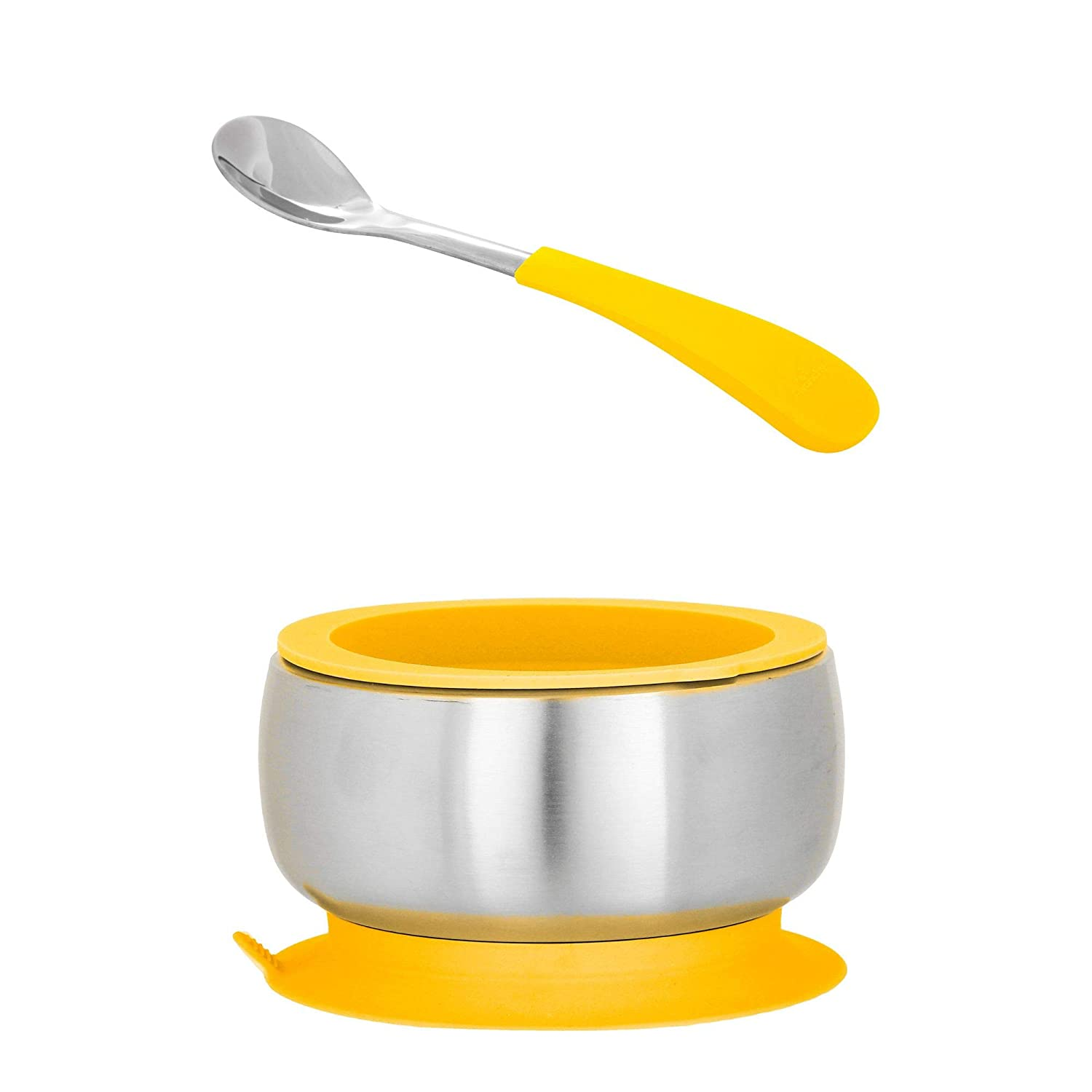 Avanchy Baby Toddler Feeding | Stainless Steel Stay Put Bowl Suction + Soft Silicone Handle Spoon + Lid Set | BPA Free | Great Infant Gift Pack (Infant, Yellow)