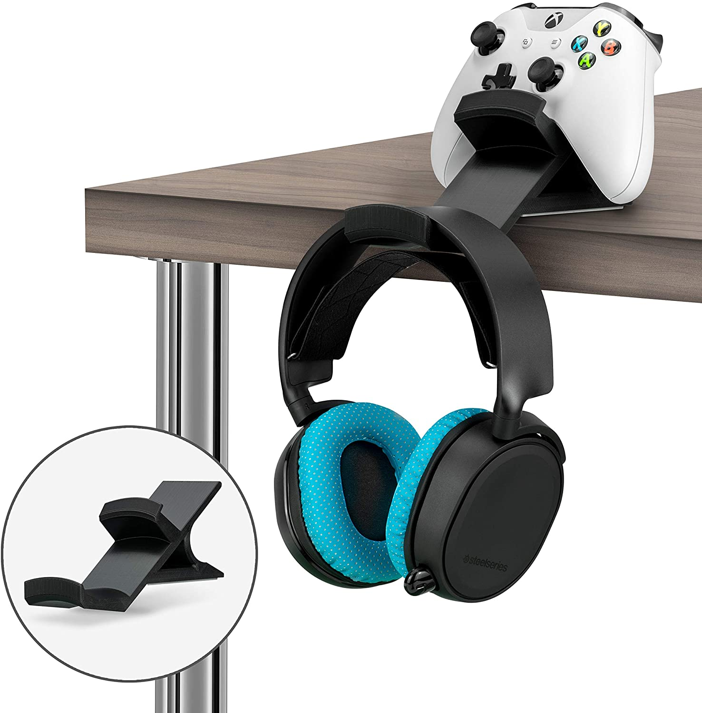 The Titan - Desktop Gamepad Controller & Headphone Hanger Holder - Designed for Xbox ONE, PS4, PS3, Dualshock, Switch, PC, Steelseries, Steam & More, Reduce Clutter, Black by Brainwavz