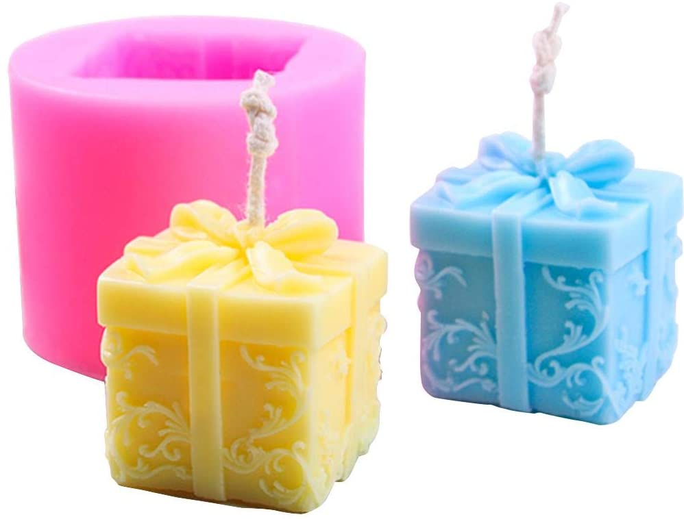 Christmas Candle Molds DIY Silicone Candle Mold Cuboid Shape Moulds with Embossed,DIY Christmas Party Decoration for Oven