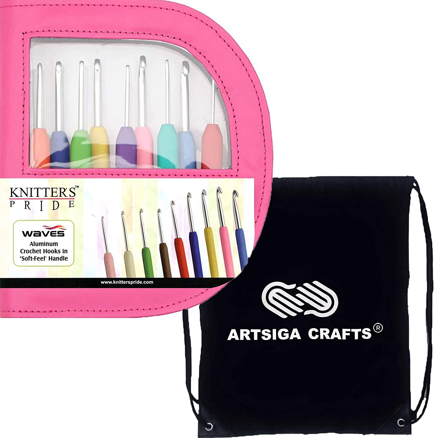 Knitter's Pride Knitting Needles Waves 7 inch (18cm) Crochet Hook Set in Fluorescent Pink Faux Leather Case Bundle with 1 Artsiga Crafts Project Bag 600332