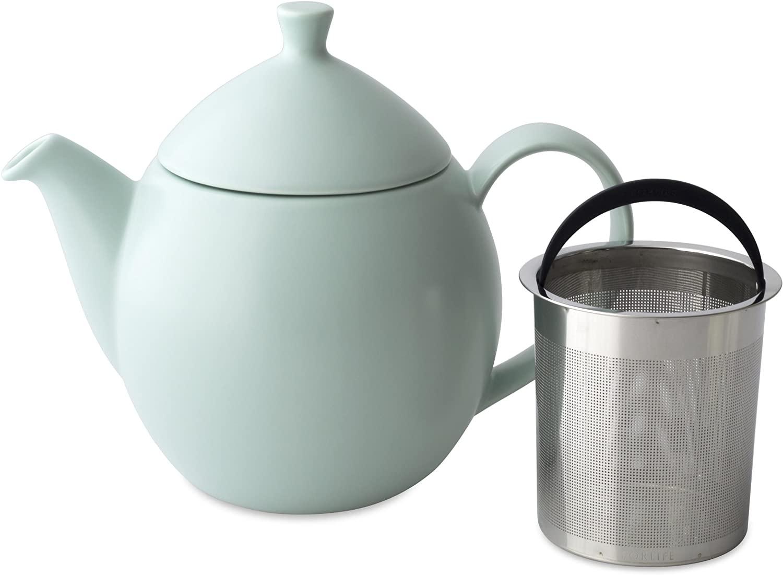 FORLIFE Dew Teapot with Basket Infuser, Minty Aqua, 32 oz/946ml
