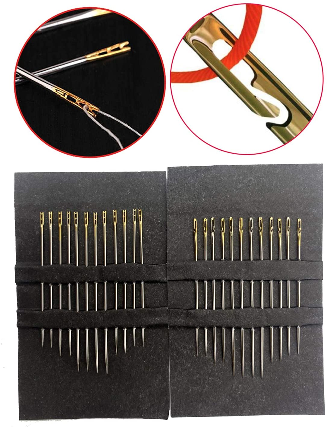 Wakaka One Second-Needles Self Threading Hand Needles Stitching Pins Home Household Tools for Old People, Set of 12/24 (24 Pcs)