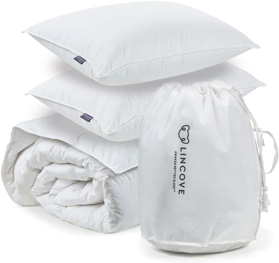 """Lincove Move-in Bundle 100% Goose Down Comforter 108""""x94"""" and Set of 2 Goose Down Pillows 20""""x36"""" - 800 Fill Power, 600 Thread Count Cotton Shell (King Bundle - Soft)"""