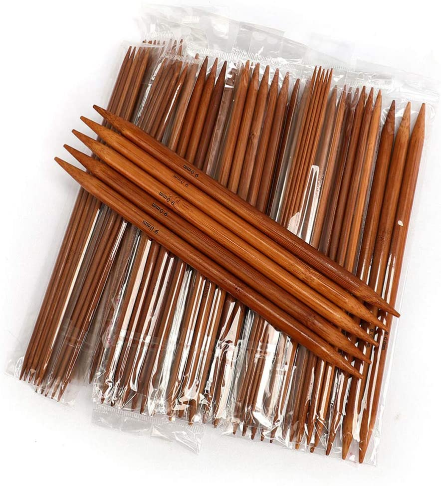 Milisten 75 Pcs Knitting Needles Set Bamboo Double Pointed Knitting Needles Set Crochet Sweater Needle Weave Craft Tool