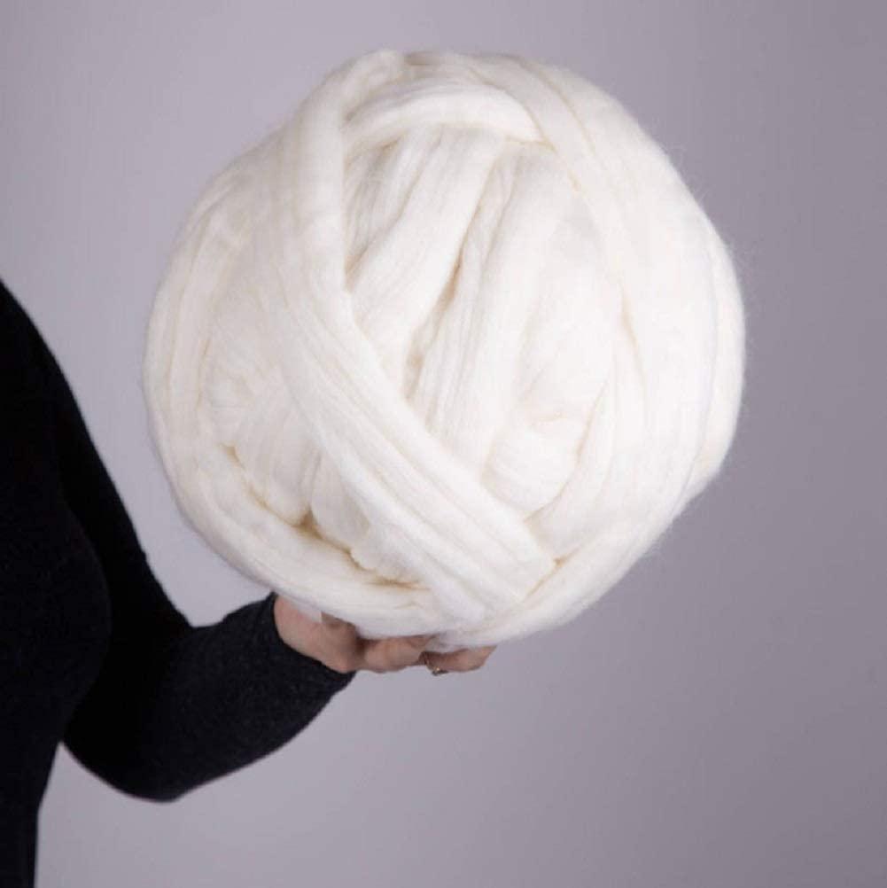 Giant Wool Yarn Chunky Merino Arm Knitting Super Soft Wool Yarn Bulky Wool Roving White 8 lbs