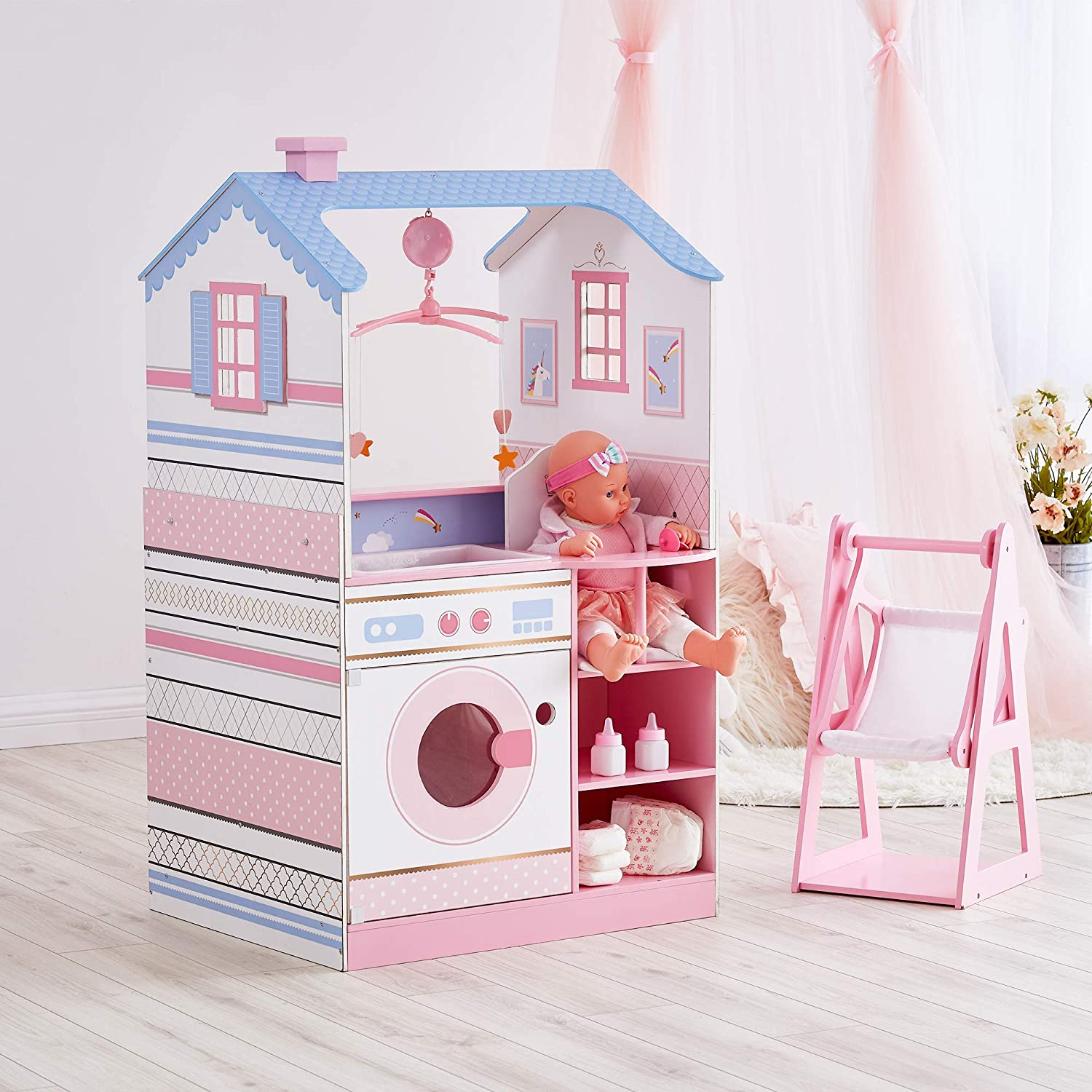 Olivia's Little World - All in One 16-18 inch Baby Doll Wooden Nursery Center - Double Sided Dollhouse for Baby Dolls with Swings - Multi- Functional Changing Station, Unicorn White/Pink/Blue