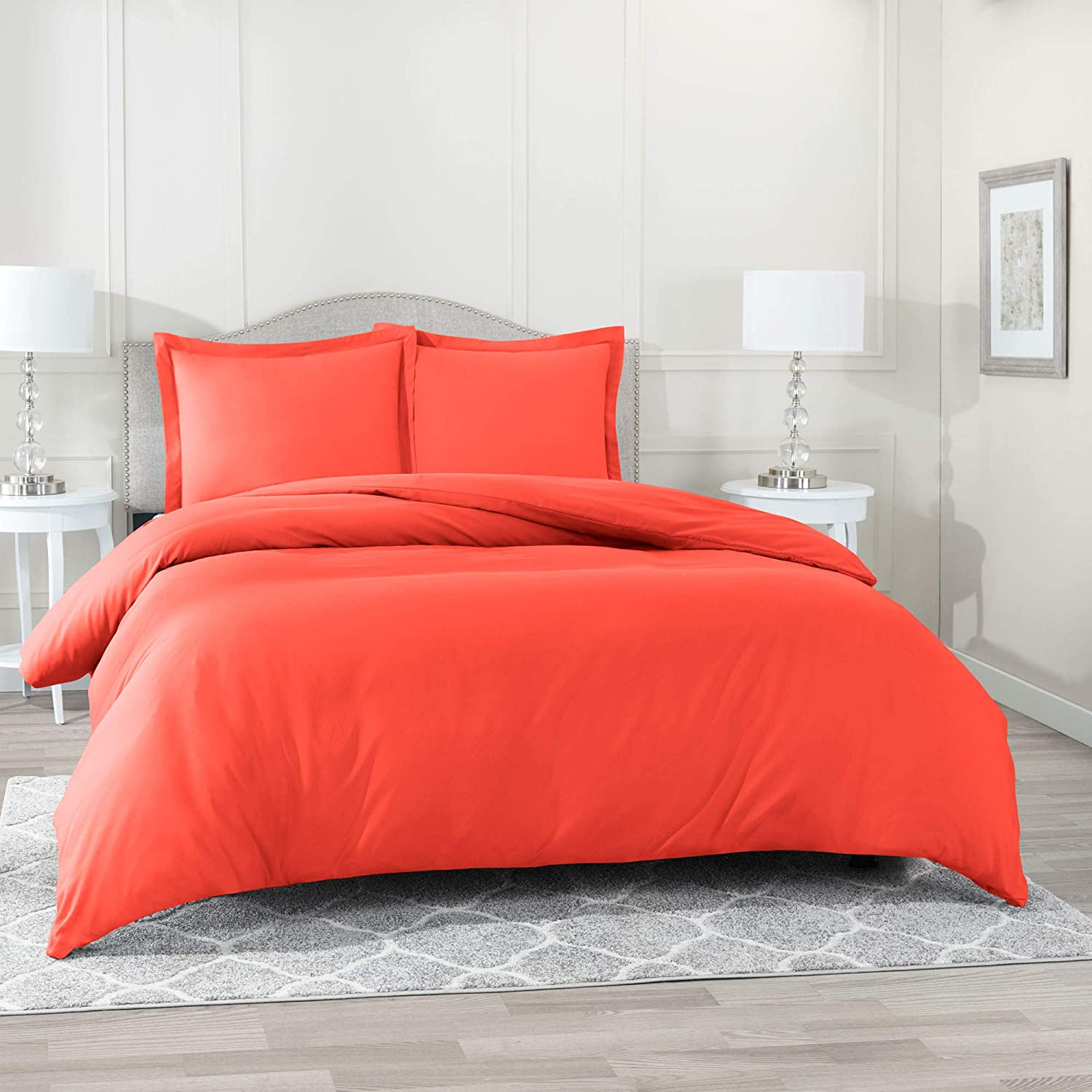 Nestl Bedding Duvet Cover 3 Piece Set – Ultra Soft Double Brushed Microfiber Hotel Collection – Comforter Cover with Button Closure and 2 Pillow Shams, Orange - Full (Double) 80