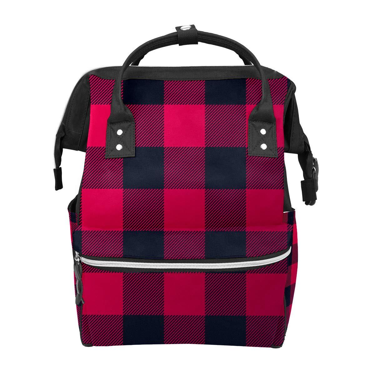 Diaper Bag Backpack Trendy Lumberjack Pattern Multifunction Travel Back Pack Baby Changing Bags Large Capacity Waterproof Stylish