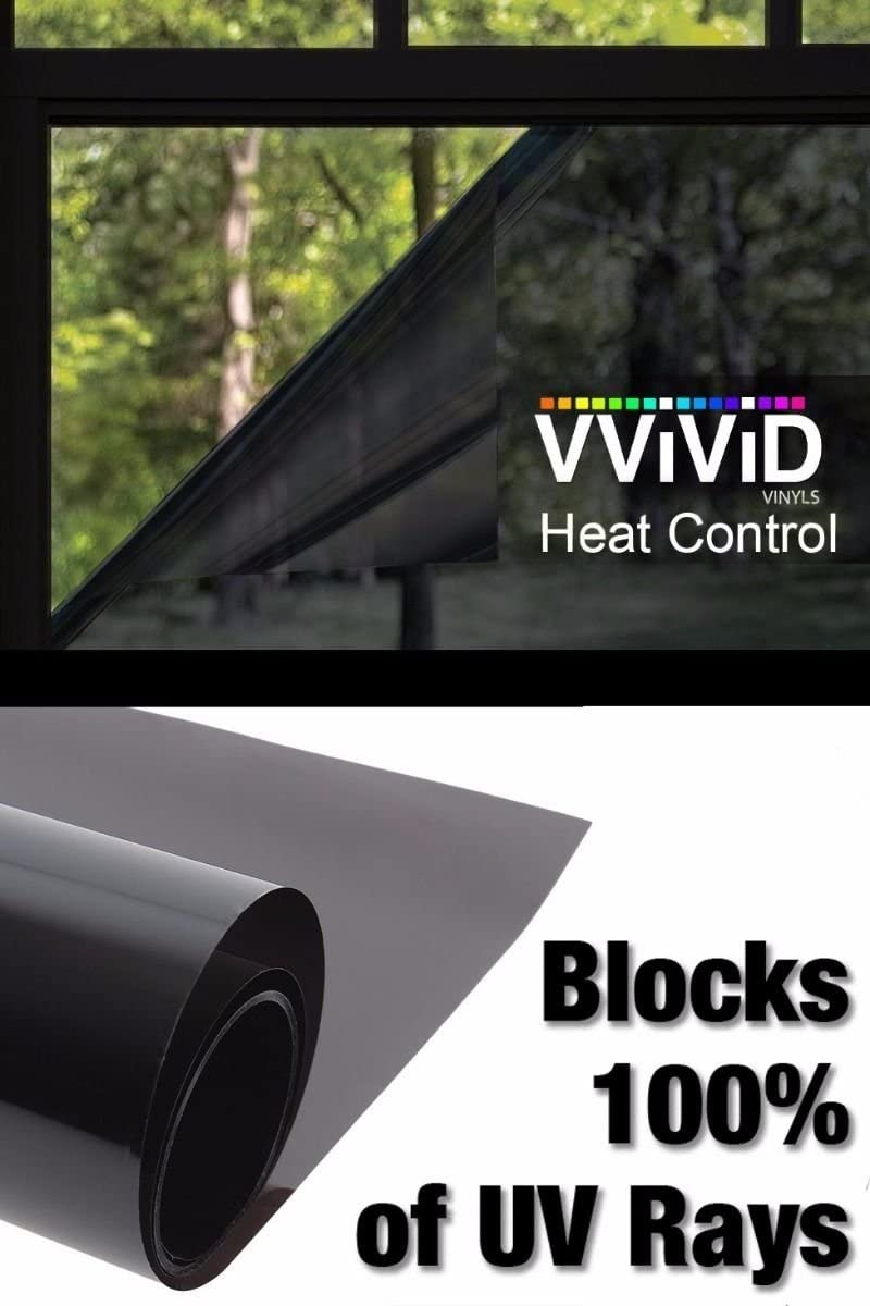 Heat Control 100% Anti UV Vinyl Wrap Dark Tint Roll for Home Residential Office Climate Control (60 Inch x 120 Inch Extra-Large roll)