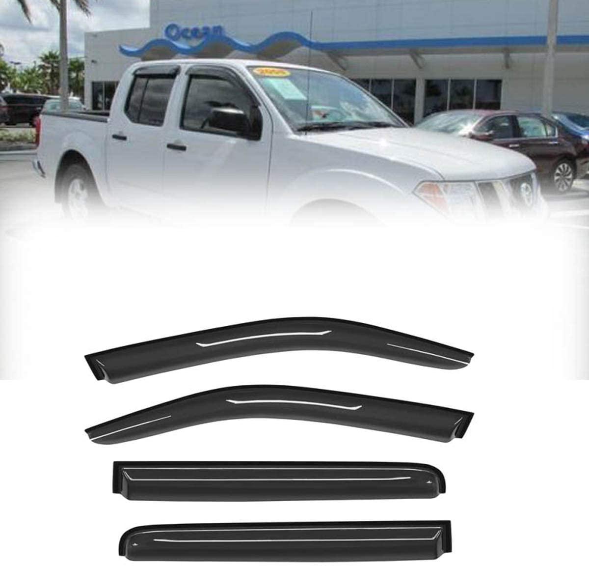 Laprive Auto 4pcs for 05-16 Nissan Frontier Crew Cab Sun Rain Guard Vent Shade Window Visors