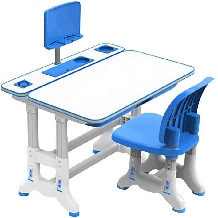 Desk Chair Set for All Age Kids 80cm, Height Adjustable Kid Table,Child School Study Functional Desks with Tilt Desktop, Bookstand,Drawer,Metal Hook