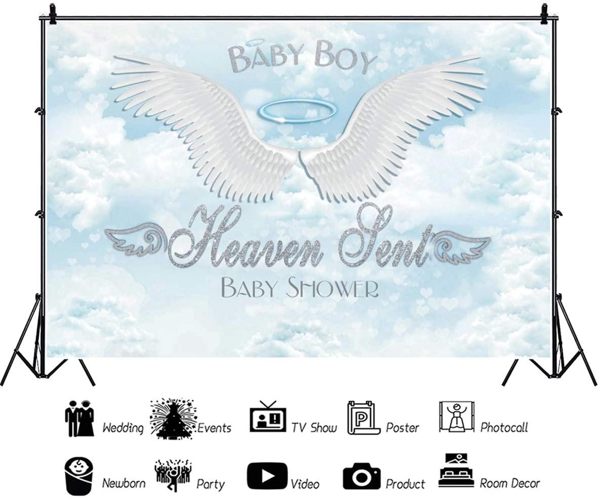 Baocicco 5x3ft Blue Baby Shower Baby Boy Heaven Sent Backdrop White Wings Photography Background Blue Sky White Clouds It's A Boy Prince Little Man Little Angel Newborn Baby Boy Photo Studio Video