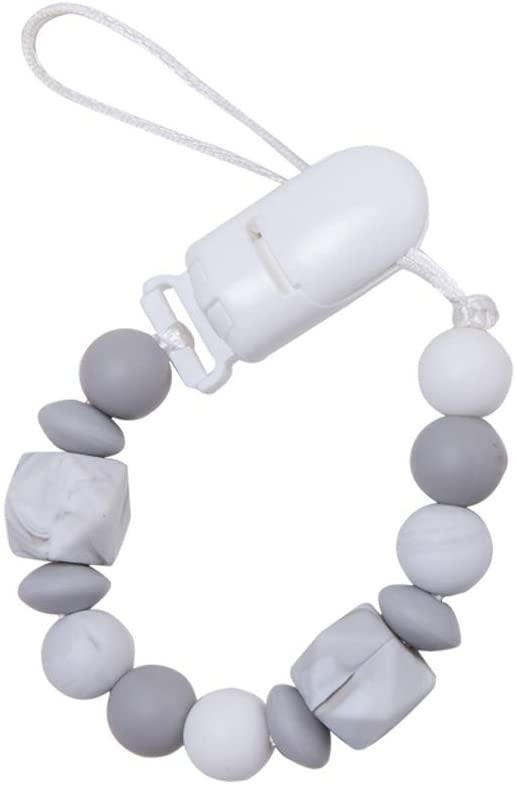 Biter teether Baby Universal Pacifier Clip Soft Marble Silicone Beads Binky Holder Handmade DIY Crafts Smooth Clip Neutral