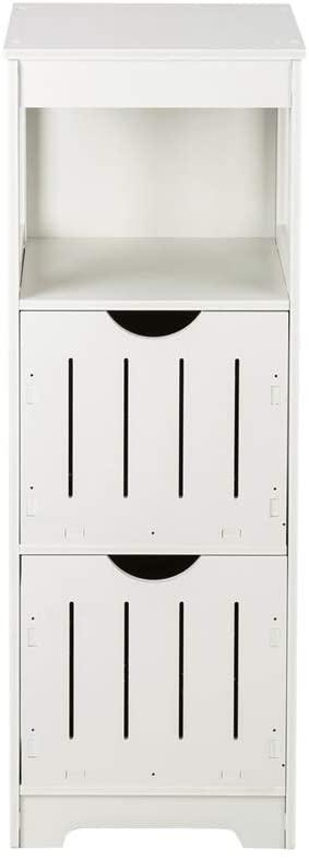 Seven&Plus Three-Layer Two-Drawer Shelf PVC(12.5 x 12x 33.5) Small Bathroom Storage Corner Floor Cabinet, Thin Toilet Vanity Cabinet for Paper Holder