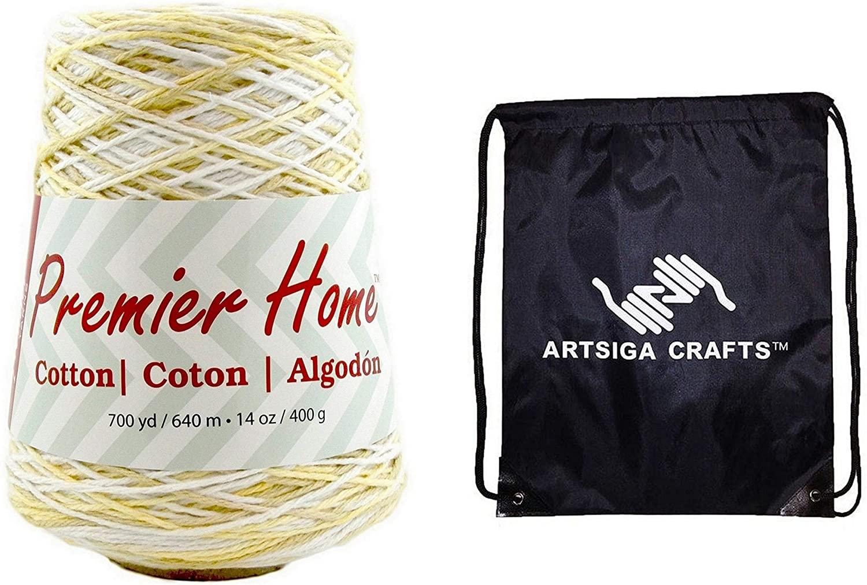 Premier Knitting Yarn Home Cotton Multi Golden Oak 1 Cone (14 oz 700yd) 1032-13 Bundle with 1 Artsiga Crafts Project Bag