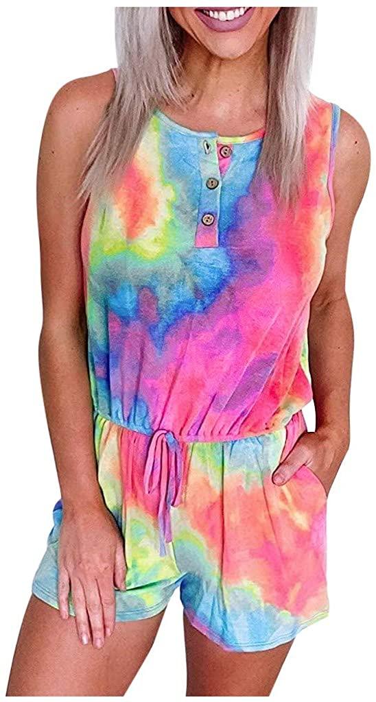 Opeer Womens Tie-Dye Leopard Sleeveless Tanks Tops Romper Beach Jumpsuit Nightwear Loungewear