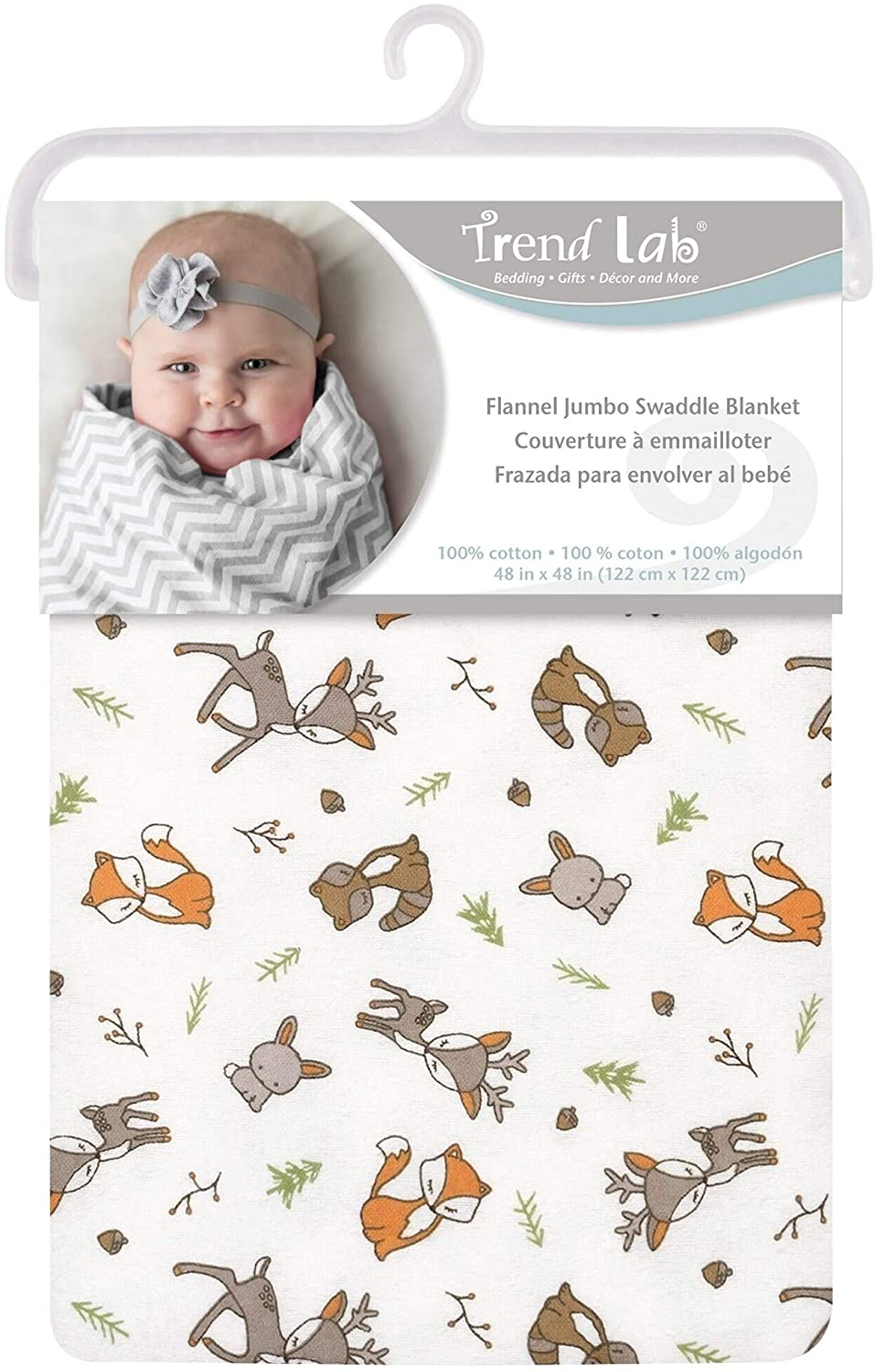 Forest Nap Jumbo Deluxe Flannel Swaddle Blanket Multi Color Animal Print Neutral Woodland Cotton
