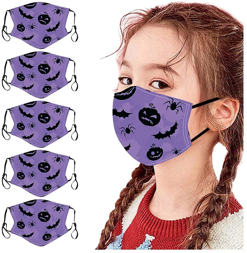 Weginte 5PCS Kids Washable Reusable Face Bandanas Children Breathable Student Mouth Activities Outdoor Cute Halloween Print