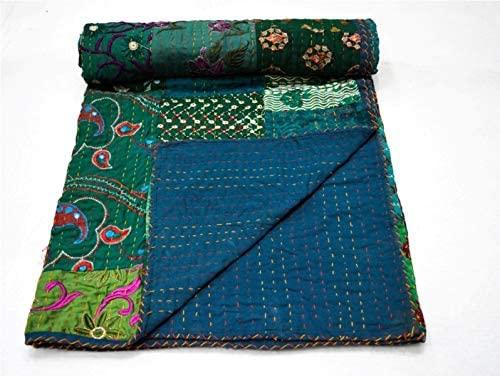 Yuvancrafts Indian Handmade Cotton Kantha Quilt Traditional Patch Work Queen Quilt Blanket Bedspreads Throw