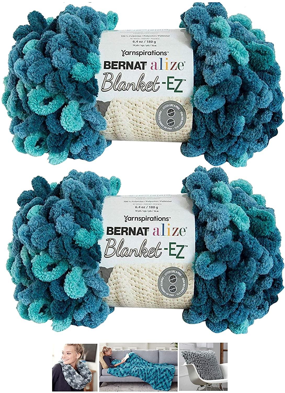 Alize Bernat EZ Blanket Yarn Bundle 100% Polyester (Seaport Teals, 2-Pack)