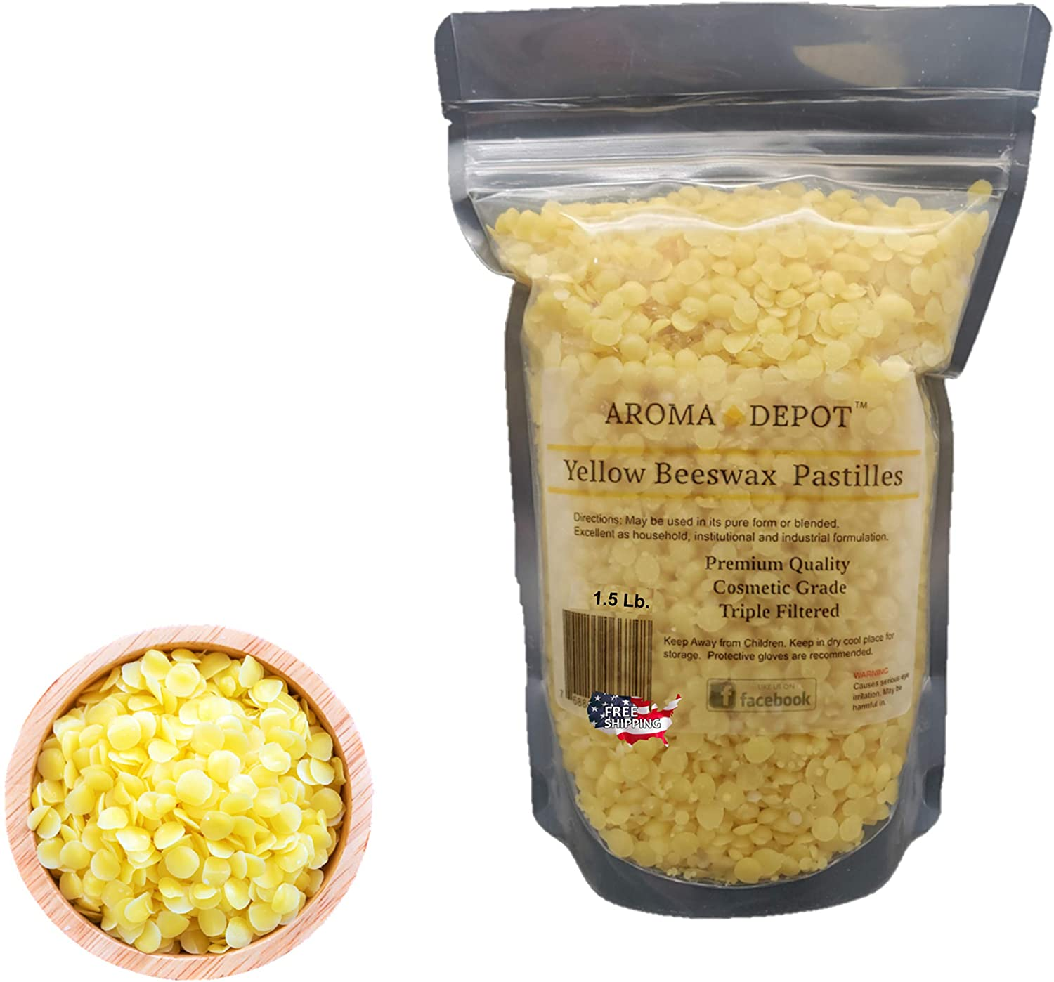 Aroma Depot 1.5 Lb Yellow Beeswax Pellets 100% Natural Pure Bees Wax 3 x Filtered, Great for Skin, Face & Body, Ideal for DIY, Lotion, Creams, Soaps, Lip Balm and Candle Making Supplies. Easy Melt