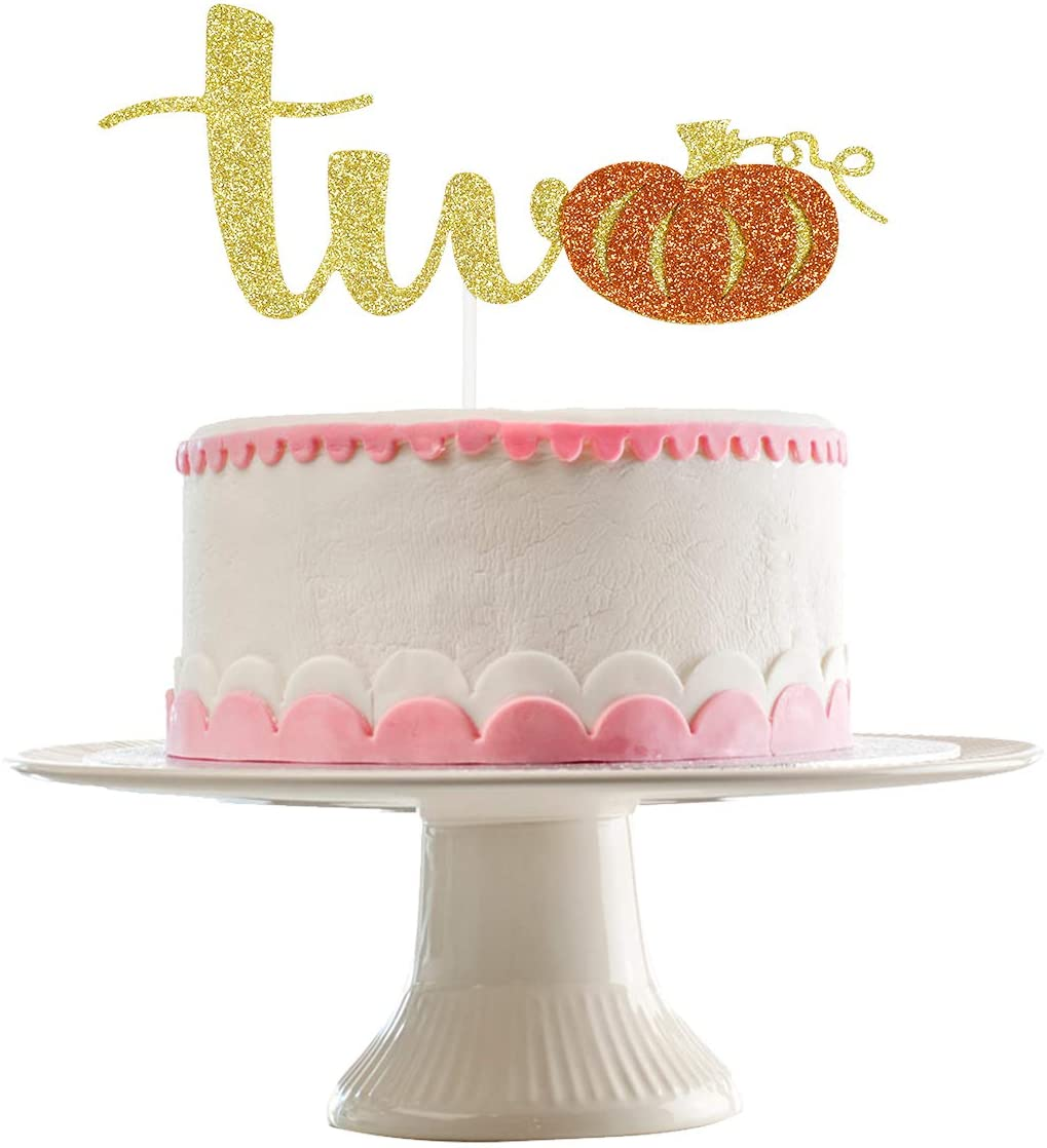 Gold Glittery Pumpkin Two Cake Topper- Pumpkin Theme 2nd Birthday Party Decoratios,2nd Birthday Cake Decor