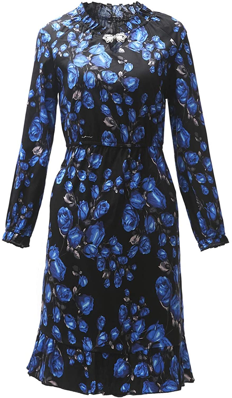 Womens Crystal Cat Eye V-Neck Long Sleeve Floral Print Midi Swing Dress