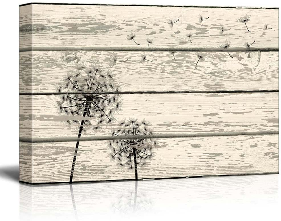 wall26 Rustic Canvas Prints Wall Art - Dandelion Artwork on Vintage Wood Board Background Stretched Canvas Wrap. Ready to Hang - 16