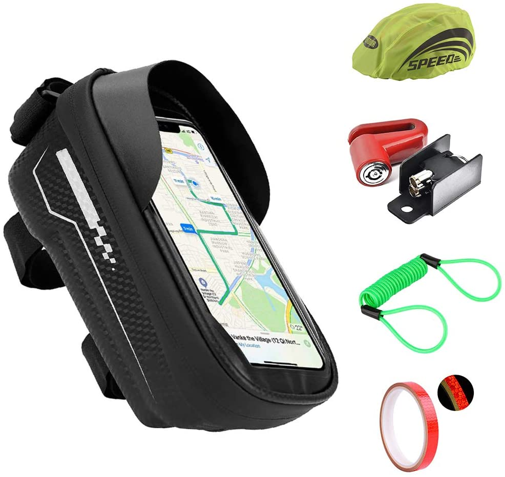 MXIAZU Bike Handlebar Bag Bicycle Cellphone Front Frame Waterproof Cycling Pouch Touch Screen Holder Rack Case 6.5inch Disc Lock Motor Theft Protection Reflector Spring Reminder Gift