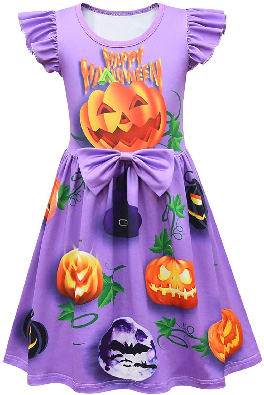 Sumeca Toddler Girls Flutter Sleeve Pumpkin Dress for Halloween Party