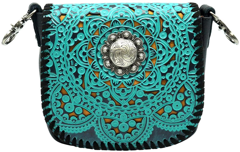 Montana West Genuine Leather Tooled Crossbody Purse For Women Buckle Handbag Western Cowgirl Shoulder Bag