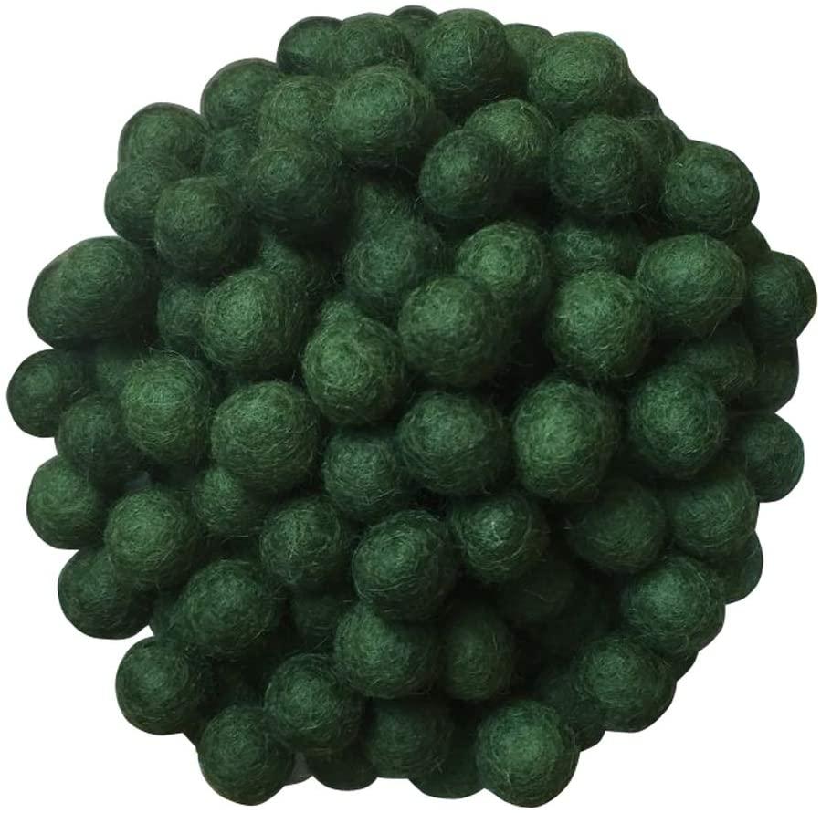 2cm 20mm Wool Felt Balls Beads 100% Natural Wool Felting Woolen Felted Fabric for Home Decor Dream Catcher DIY Baby-Mobile Garland Crafts Handcrafts Project DIY (ArmyGreen 50pcs)