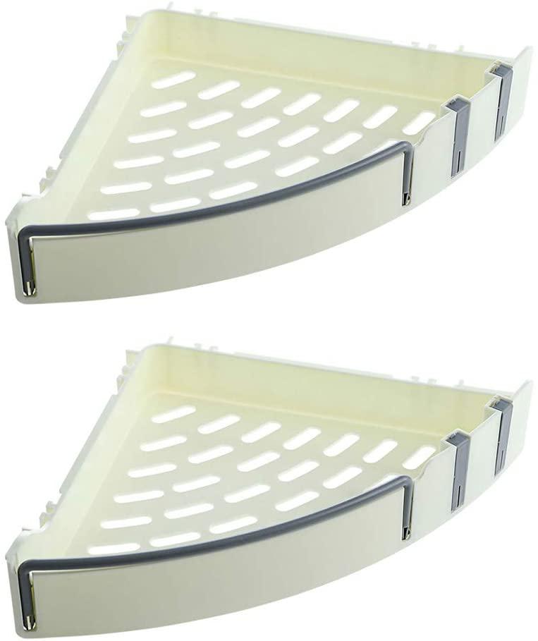 iFlower Set of 2, Self Adhesive Shower Basket, Bathroom Shelf Organizer with Sticker, Wall Mounted Sundries Storage Rack, No Drilling Shower Shelf, Bath Essentials Makeups Shampoo Holder, 22x32x5cm