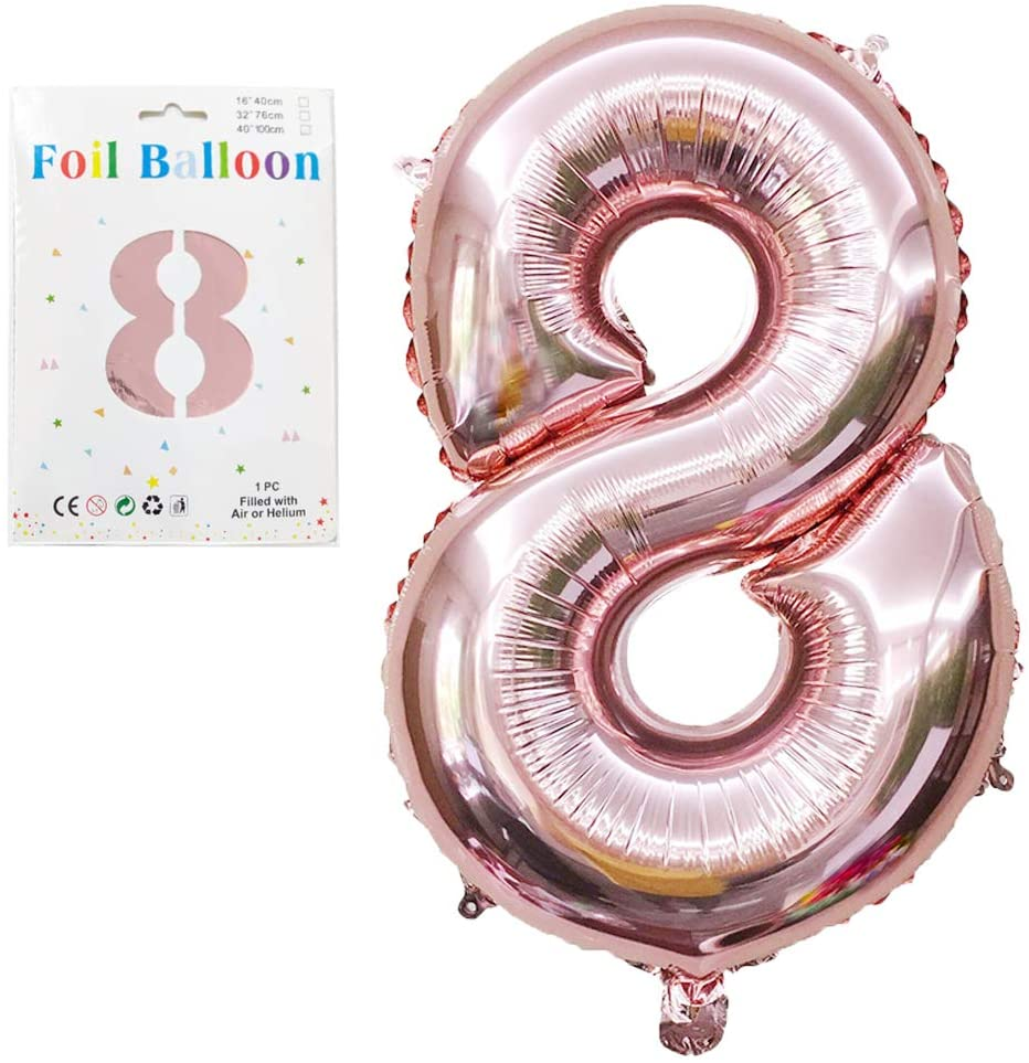 40 inch Rose Gold Number Balloons, Birthday Number Balloon Jumbo Huge Big Helium Foil Mylar Digital Balloons for Anniversary Bday Engagement Wedding Bridal Shower of SharkBliss (Number 8 Balloon)