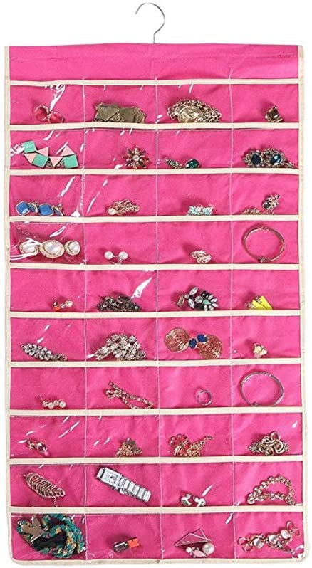 Hanging Jewelry Organizer Holder, 80 Pockets Double Sided Accessories Storage for Necklaces, Bracelets, Rings, Earrings and More (Pink)