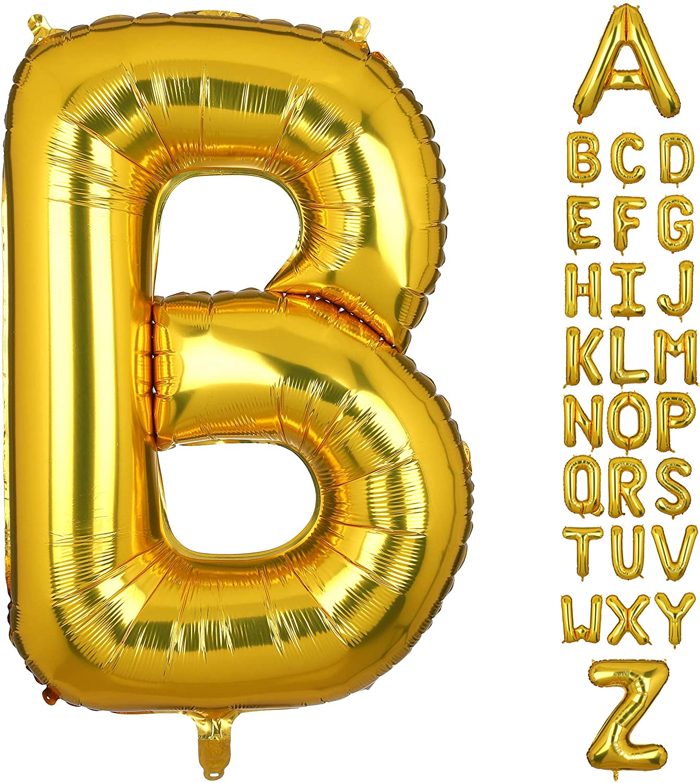 40 Inch Large Gold Letter B Foil Balloons Hellium Golden Big Alphabet Mylar Balloon for Birthday Party Decoration Custom Word HH(Gold-B)