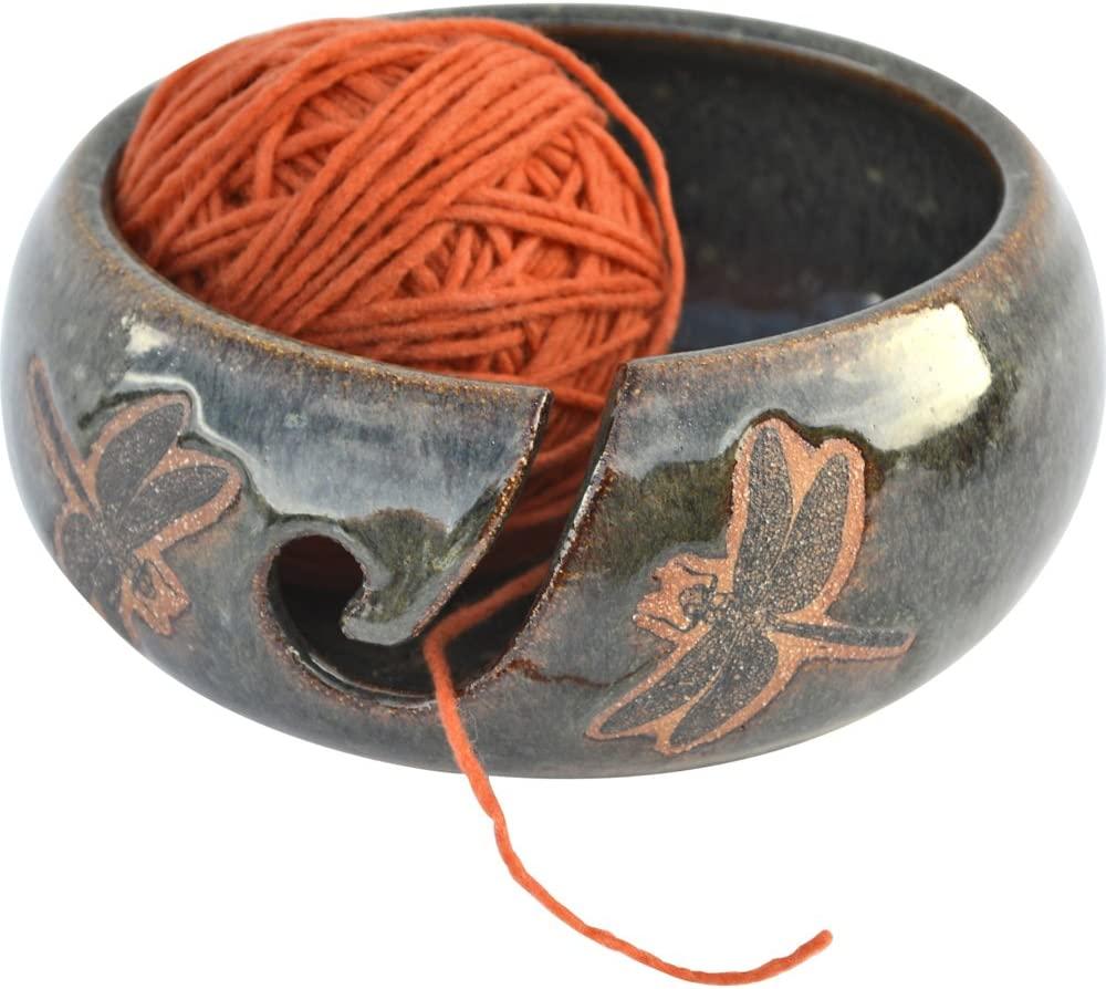 Dragonfly Yarn Bowl in Seamist Glaze